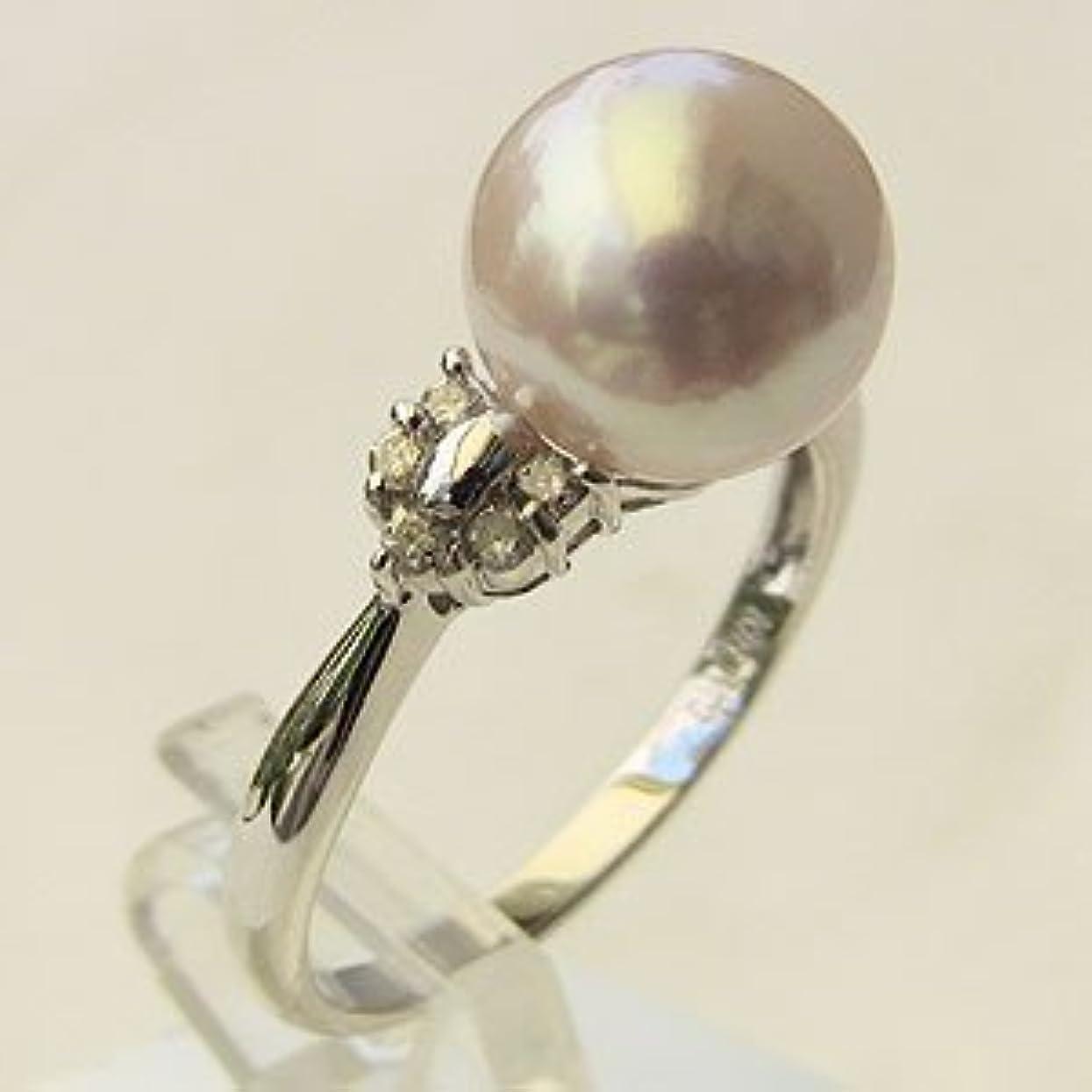 経歴保証強い真珠の杜 アコヤ本真珠 リング ダイヤモンド パール ピンクホワイト系 9mm K18WG ホワイトゴールド 指輪 0.14 結婚式用 パーティー用 プレゼント 15号