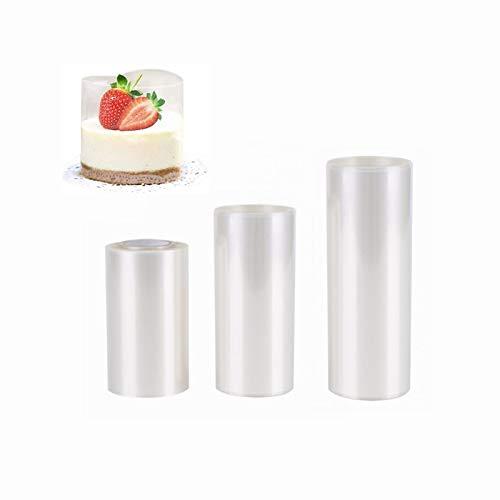 Heatigo Kuchen Halsbänder Tortenrandfolie,3 Rolle Transparent Acetat Rolle Tortenrandfolie,Cake Collars für Tortendeko Schokolade Mousse Dessertringe(6cm x 10 m, 8cm x 10 m,10 cm x 10 m)