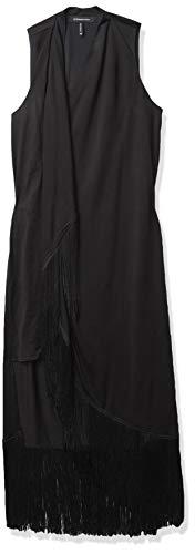 BCBGMAXAZRIA Women's Asymmetric Fringe Dress, Black, M (Apparel)