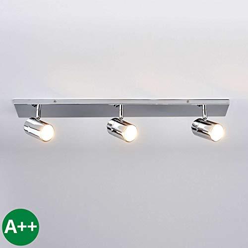 Lindby Deckenlampe 'Dejan' dimmbar (spritzwassergeschützt) (Modern) in Chrom aus Metall u.a. für Badezimmer (3 flammig, GU10, A++) - Bad Deckenleuchte, Lampe, Badezimmerleuchte