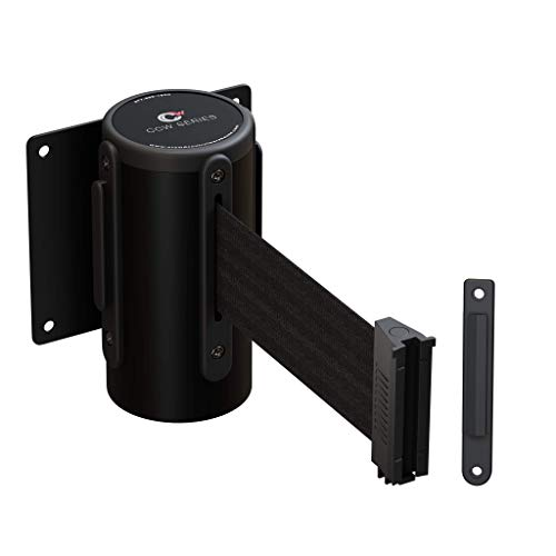 CCW Series WMB-120 Fixed Wall Mount Retractable Belt Barrier 11 Foot with Steel Case (11 Foot, Black Belt with Black Steel Case)