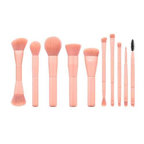 Drawihi Pinceaux Maquillages Premium Coloré Fondation Mélange Blush Yeux Visage Poudre Brosse Cosmétiques 10Pcs (rose)