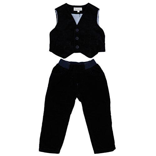 MMdadak Baby Set für Jungen Taufset Weste und Hose dunkelblau schwarz Nr. 4 Feincord (74)