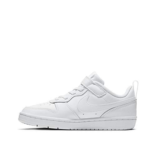 Nike Boys Court Borough Low 2 (PSV) Sneaker, White/White-White, 28 EU