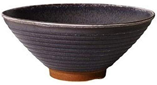 KS Cuenco de cerámica japonés de 7 Pulgadas, Sopa de Fideos Vintage, Cuenco Grande, vajilla para el hogar de Color Caqui Gris Oscuro, 700 ml