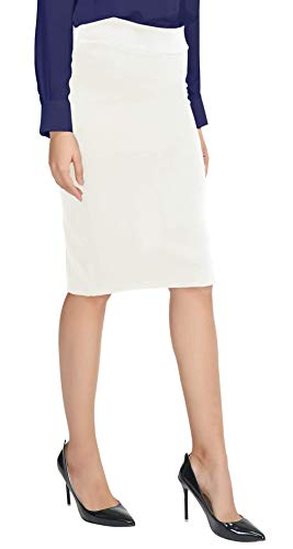 Urban CoCo Women's Elastic Waist Stretch Bodycon Midi Pencil Skirt (M, White)