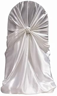 mds Pack of 5 satin Universal Chair Cover/Pillowcase/tie back self chair cover for Wedding or Events Banquet/Folding Chair cover - white