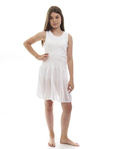 Rossette Sleeveless Full Slip for Girls - Cling Free - Cotton / Nylon Material White 10