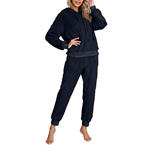 Women Winter Warm Homewear Set Double-Sided Plush Long Sleeve Drawstring Hoodie + Fleece Long Pants 2Pcs Casual Tracksuits Set (Navy, M)