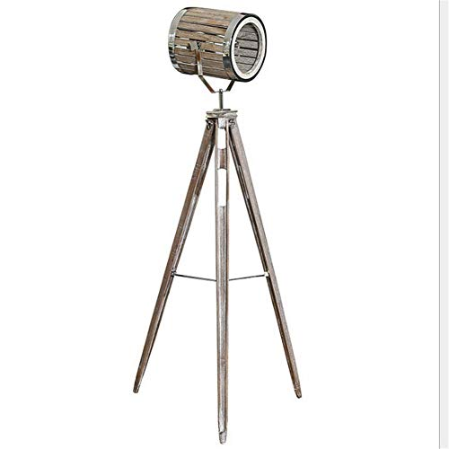 DXXWANG Floor Lamp Reading Decorative Lights,Vintage Do The Old Wooden Tripod with Silver Chrome Metal Collocation Industrial Retro Adjustable Searchlight E27 Standing Lamp