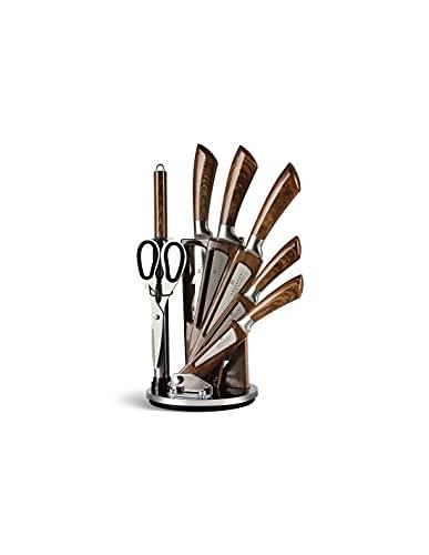 Edënbërg Brown Line 8 teiliges Messer-Set auf einem drehbaren Ständer - Luxus Messer-Set - Aus rostfreiem Edelstahl
