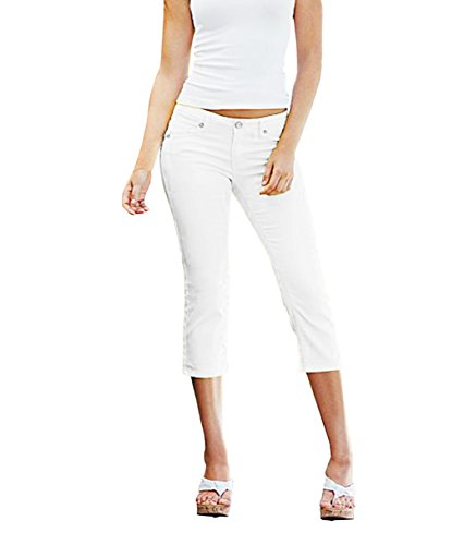 Hybrid & Company Women's Perfectly Shaping Stretchy Denim CapriQ19411X White 16