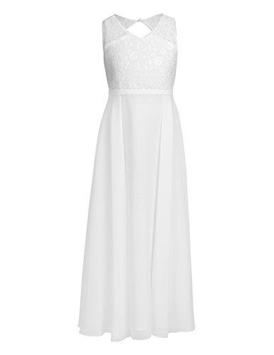 TiaoBug Blumenmädchenkleider für Hochzeits Brautjungfern Tüll Festzug Partei Festliches Kleid für Mädchen 104 116 128 140 152 164 Ivory B 134-140