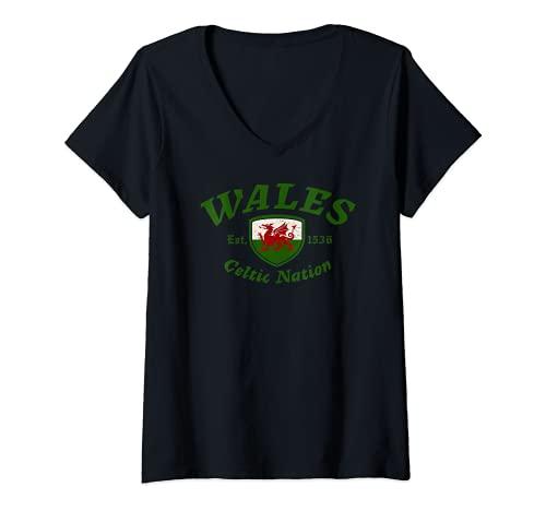 Womens Wales Celtic Nation Established 1536 V-Neck T-Shirt