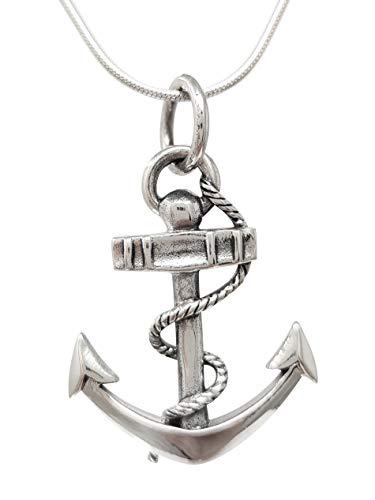 TreasureBay Impresionante colgante de ancla de plata de ley 925 para hombre con cadena