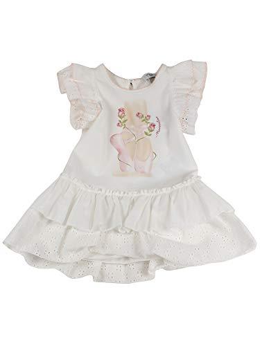 MONNALISA Baby Girl - Vestido blanco MOD 397900SD70100190, mod. 397900SD7010 crema 24 meses