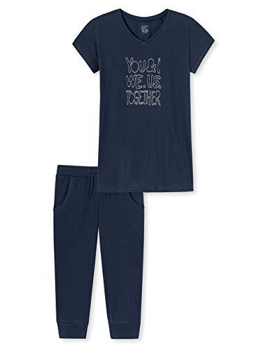 Schiesser Mädchen Anzug kurz' Zweiteiliger Schlafanzug, Blau (Nachtblau 804), (Herstellergröße: 164)