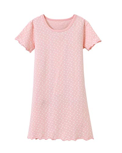 DianShaoA Prinzessin Netter Druck Nachthemden Für Mädchen Kurzarm Kinder Schlafanzüge Für 3-12 Jahre 86531Pink 160
