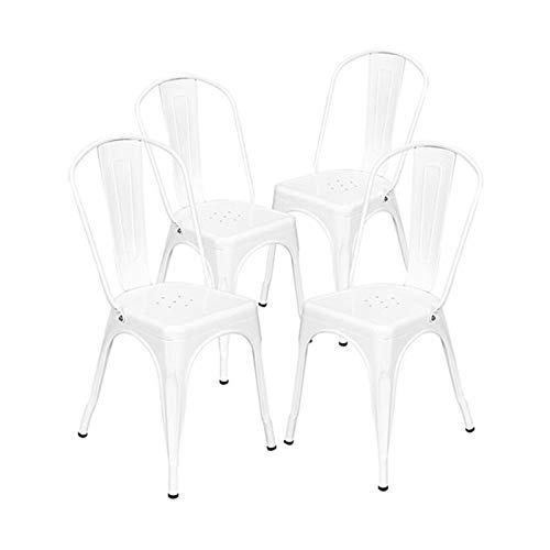 Chairs 4pcs Dining Set,Industrial Style Iron Sheet White, for Restaurants, Pubs,Garden