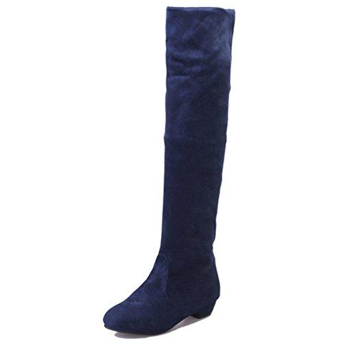 Zapatos de mujer Botas de mujer Botines Mujer Invierno Otoño Negro Plano Pierna alta Ante Casual Largo Alto Botas LMMVP (39, Azul)