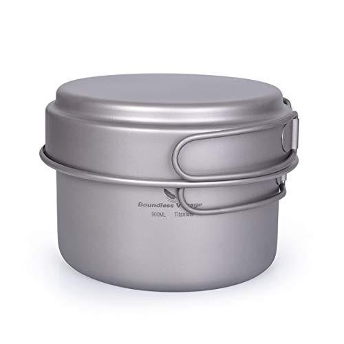 iBasingo Juego de ollas de titanio con mango plegable para exteriores, olla...