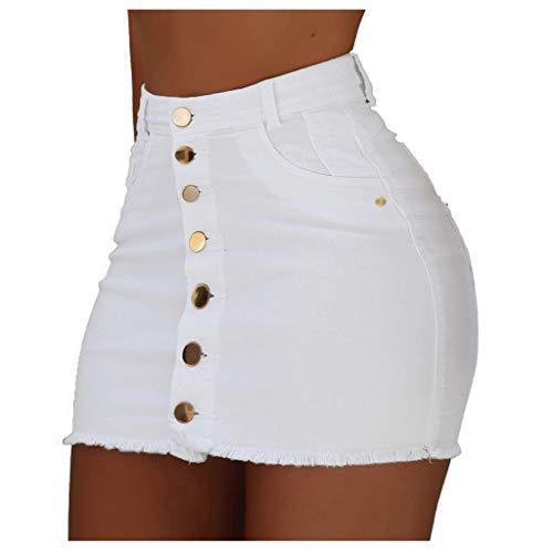 SHSH Jeans Minirock,Mode Schritt Halten,Sexy Knopf Engen Jeansrock aus Stretch-Material,Angenehm Zu Tragen Mini-Rock, Stretch Bodycon Rock,Damen Kurzer Mini-Rock Einfarbig Jeansrock Damen Rock