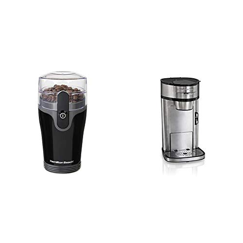 Hamilton Beach Fresh Grind 4.5oz Electric Coffee Grinder for Beans, Spices and More, Stainless Steel & Hamilton Beach Scoop Single Serve Coffee Maker, Fast Brewing, Stainless Steel (49981A)