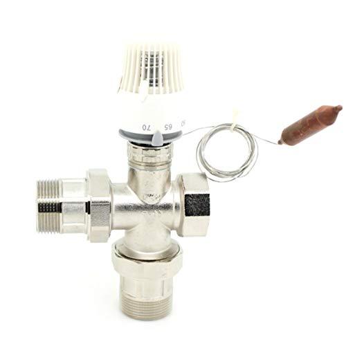 ZHENGZEQU Energía Ahorro de 30-70 Grados Sistema de calefacción Sistema de calefacción Radiador termostático Válvula remota Válvula de Tres vías (Color : Blanco, Size : DN25)