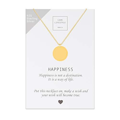 LUUK LIFESTYLE Sterling Silber 925 Halskette mit Kreis Anhänger und Happiness Spruchkarte, Glücksbringer, Damen Schmuck, gold