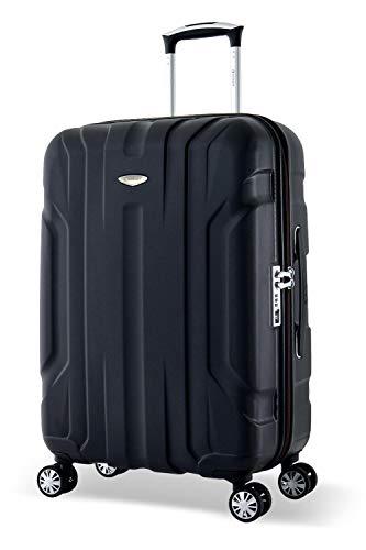 Eminent Maleta Mediana X-Tec 66cm 70L Ultra Ligera con 4 Ruedas multidireccionales Policarbonato Rígido, Candado TSA & Mango telescópico Negro