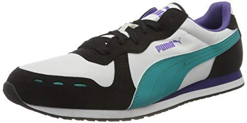 PUMA Cabana Run, Zapatillas Unisex Adulto, Blanco White Black/Viridian Green/Prism Violet, 37 EU