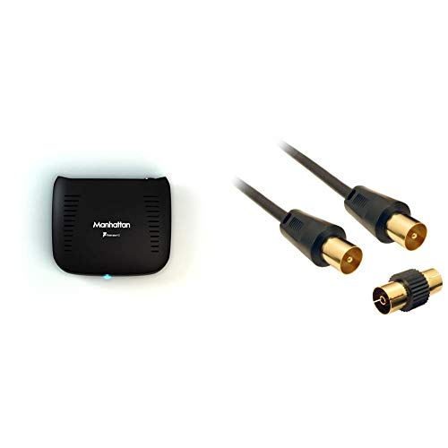 Manhattan T1 Freeview HD Box, Black & CDL Micro 3 m Gold Plated TV Aerial...