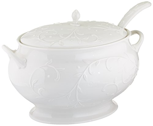 Lenox Opal Innocence Carved Covered Soup Tureen with Ladle, 10-1/4-Inch, White - 830294