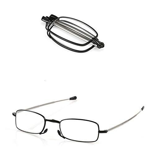 LKJHG Faltbare Lesebrille für Damen Faltbare rote Presbyopie-Frauen-Metall-Computerbrillen mit Etui