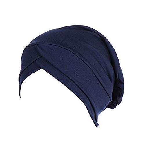 MoreChioce Damen Baumwolle Kopftücher,Elegante Frauen Elastic Bandana Muslim Kopfbedeckung Frauenalltags Turban für Haarverlust,Make up,Aktivität,Navy Hut