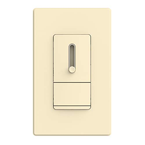 ELEGRP Slide Dimmer Switch for Dimmable LED, CFL and Incandescent Light Lamp Bulbs, Single Pole or 3-Way, Full Control with Preset, Rocker Paddle, Wall Plate Included, UL Listed, 1 Pack, Light Almond