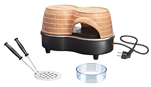 Emerio Pizzaofen, PIZZARETTE Duo das Original, handgemachte Terracotta Tonhaube, neues PRE-Bake Design, für 11cm Mini-Pizza, romantischer Valentinstag Spaß für 2 Personen, PO-122250, 650