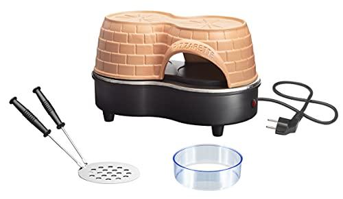 Emerio Horno de pizza Duo el original, campana de arcilla terracota hecha a mano, nuevo diseño pre-bake, para pizza de 11 cm, romántico San Valentín, diversión para 2 personas, PO-122250, 650