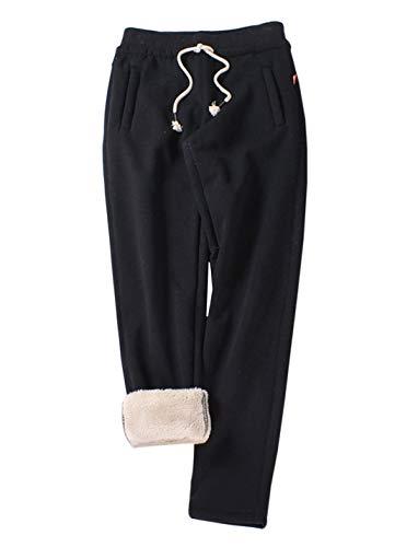 Gihuo Women's Winter Fleece Pants Sherpa Lined Sweatpants Active Running Jogger Pants (2# Black, X-Small)