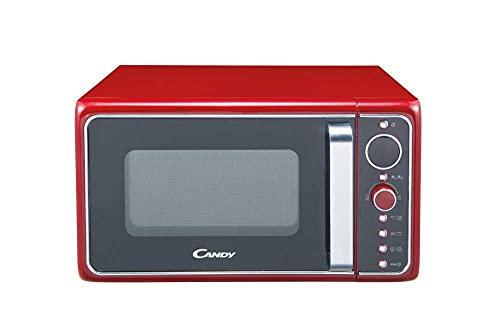 Candy DIVO G25CR Forno Microonde con Grill, 25 Litri, 900W, Funzione Crisp, Piatto Rotante in Vetro, Grill al Quarzo, Libera Installazione, 48.3x42.5x28.1 cm, Stile Vintage, Rosso