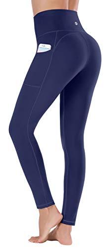 Ewedoos Leggings mit Handytasche Sporthose Damen High Waist Sport Leggings Yogahose Damen Blickdicht Laufhose (E320 Blau, Medium)
