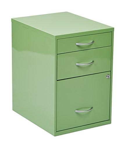 OSP Home Furnishings 3-Drawer Metal File Cabinet, Green Finish
