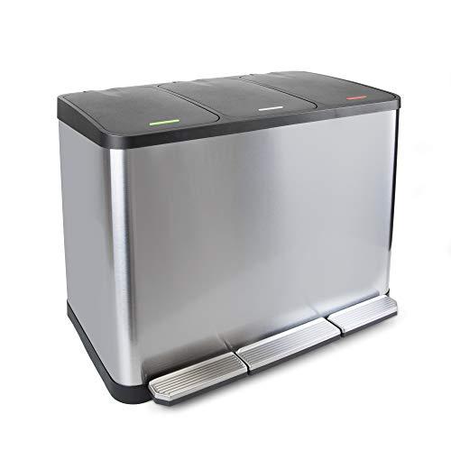 Emuca - Contenedor de reciclaje, Cubo de basura exterior con 3 compartimentos de 15 litros, Acero Inoxidable