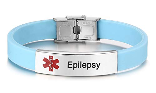 JF.JEWELRY Medical Alert ID Bracelet for Kids with Gun Black Gold Plated Stainless Steel Tag Silicone Medical Alert Bracelet Free Engraving Epilepsy Medical Alert Bracelet Free Engraving Light Blue