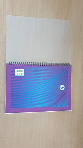 Schul-Notizbuch, A4, mit doppelter Spiralbindung, liniert, ohne Rand zum Umblättern, 140 Seiten, 5 Stück