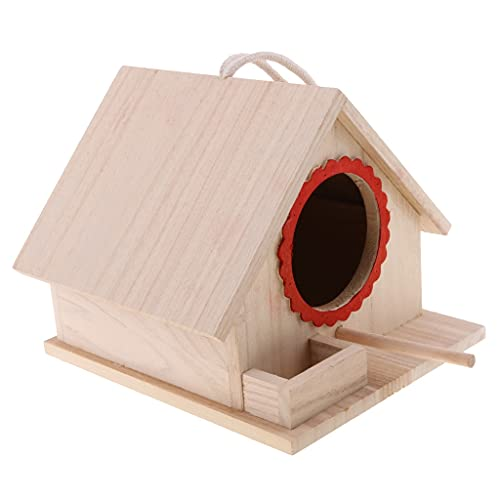 SCDCWW Casa de Madera para Colgar/Nido/de alimentación Caja de alimentación Hecho a Mano para el hogar Decoración de jardín L Cuelga de Madera Pájaro de Madera Nest