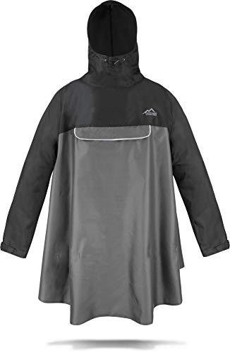 normani Regenponcho mit Ärmeln und Brusttasche für Damen und Herren [S-3XL] -YKK Brusttasche und 3M™ Scotchlite™ Reflektor Farbe Schwarz/Grau Größe XXL/3XL