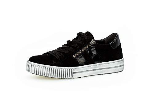 Gabor Damen Sneaker, Frauen Low-Top Sneaker,Best Fitting,Reißverschluss,Optifit- Wechselfußbett, Strassenschuhe Laufschuhe,schwarz,40.5 EU / 7 UK