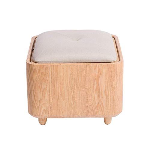 WJXBoos - Taburete para cambiar de zapatos, taburete de madera maciza, almacenamiento simple, reposamuñecas, reposamuñecas, silla baja, creativa y multifuncional, color gris