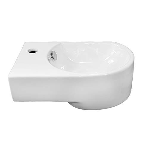 NEG Waschbecken Uno06H (klein/abgerundet/Armatur links) Hänge-Waschschale (weiß) mit Nano-Beschichtung